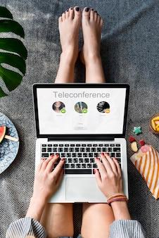 Concepto de comunicación de red de llamada de conferencia