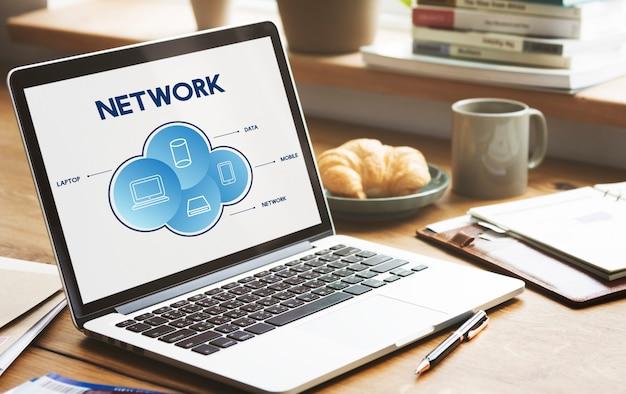 Concepto de conexión de comunicación en la nube de red