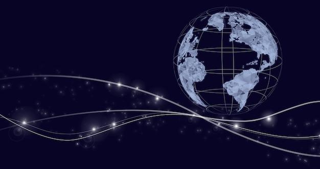 Concepto de conexión global. conexión de red mundial abstracta, internet y concepto de conexión global. concepto de tecnologías globales.