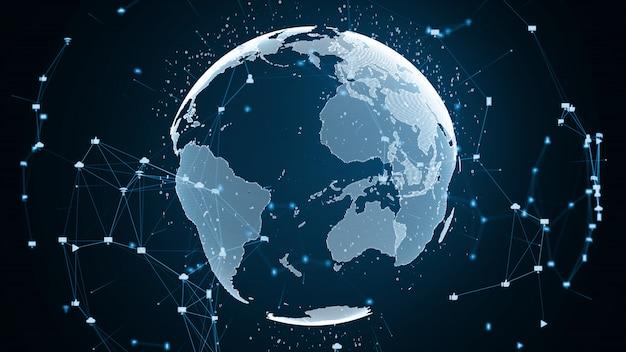 Concepto de conexión de red global y conexiones de datos.