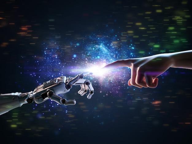 Concepto de conexión de tecnología con la mano del robot de renderizado 3d se conecta a la mano humana