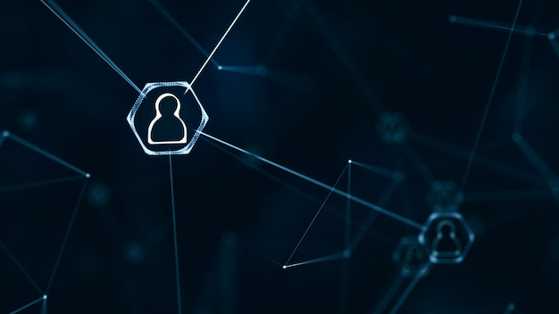 Concepto de conexiones de red social. red de iconos de personas con líneas de conexión.