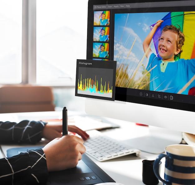 Concepto de configuración de histograma de photo editor