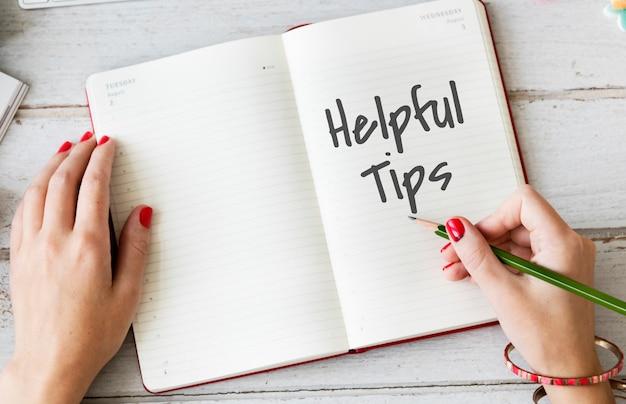 Concepto de conocimiento de información de consejos útiles
