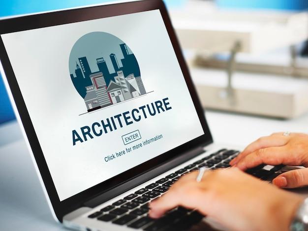 Concepto de construcción de bienes raíces de arquitectura
