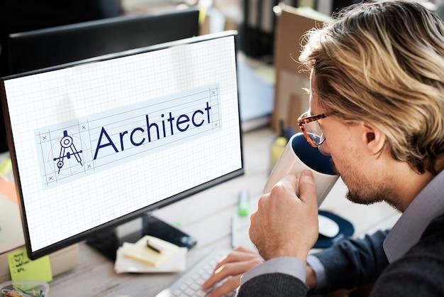 Concepto de construcción de brújula de arquitectura de arquitecto