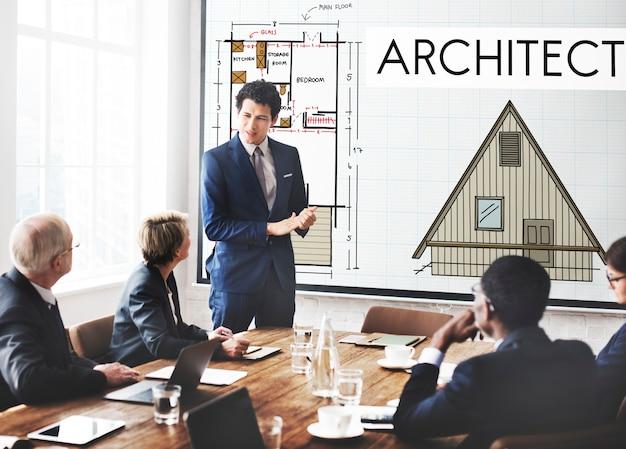 Concepto de construcción de infraestructura de diseño de arquitectura de arquitecto