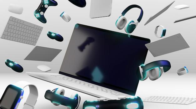 Concepto de consumismo con dispositivos