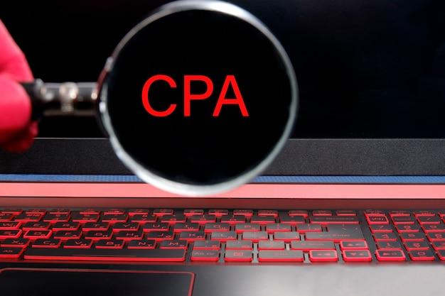 Concepto de contador público certificado cpa con gran palabra o texto.