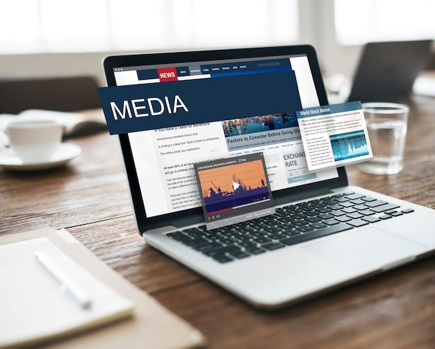 Concepto de contenido de noticias diarias globales de periodismo de medios