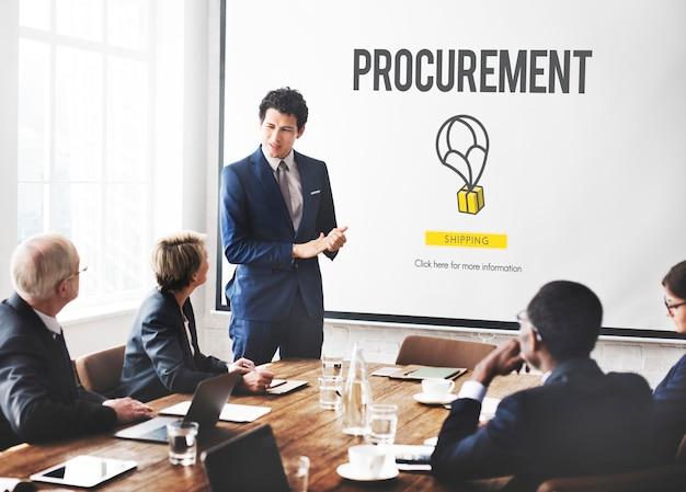 Concepto de cooperación de compra de distribución de adquisiciones
