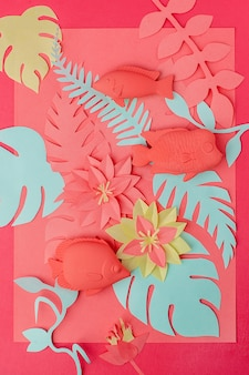 Concepto de coral vivo. set de juguetes para peces y flores de papercraft de origami.
