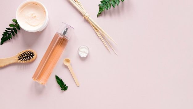 Concepto de cosmética natural con espacio de copia