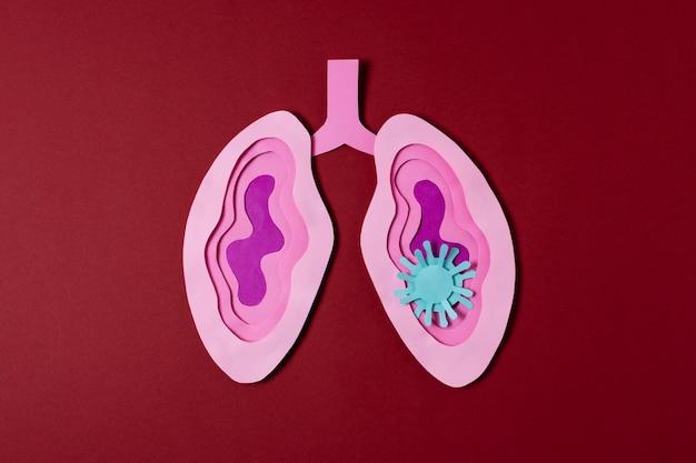 Concepto de covid con pulmones rosados vista superior
