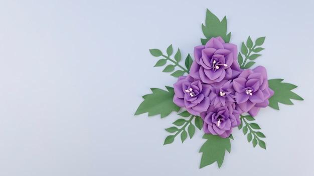 Concepto de creatividad con arreglo de flores moradas