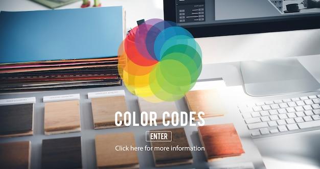 Concepto de creatividad de esquema de colores de color cmyk rgb