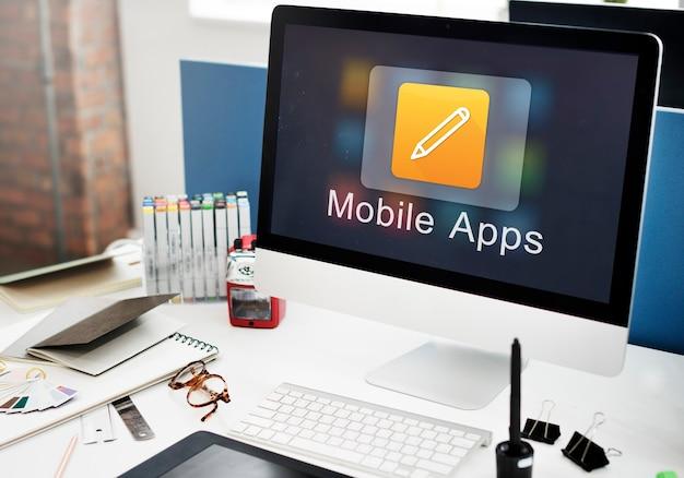 Concepto de creatividad de illustrator de diseño de aplicaciones móviles