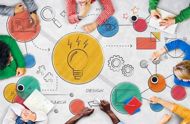 Concepto creativo del diagrama de las ideas de la bombilla