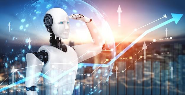 Concepto de crecimiento empresarial mediante el uso de robots de inteligencia artificial y tecnología de aprendizaje automático