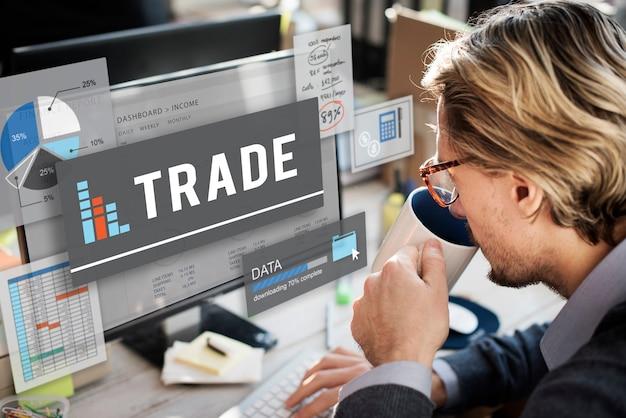Concepto de crecimiento de intercambio de economía de trato de comercio de comercio