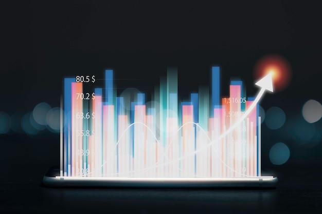 Concepto de crecimiento de inversión económica y lucrativa, mercado de valores con flecha creciente sobre fondo negro.