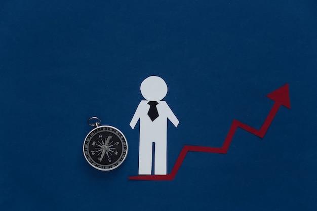 Concepto de crecimiento profesional, habilidad. figura de un hombre de papel con una flecha ascendente que tiende hacia arriba y una brújula. azul clásico. tema empresarial