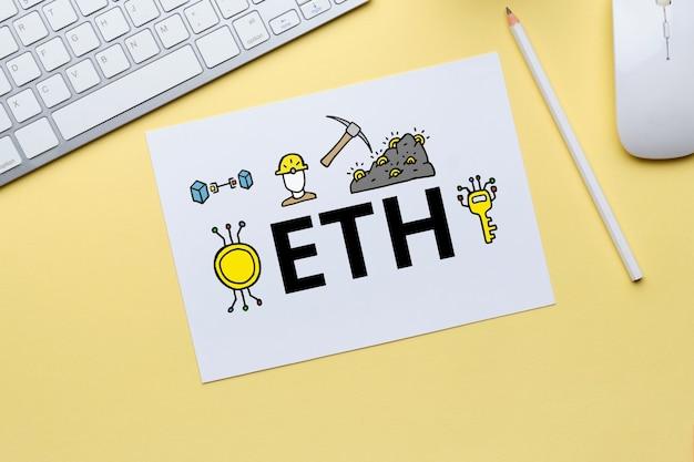 Concepto de criptomoneda ethereum o eth con iconos abstractos.
