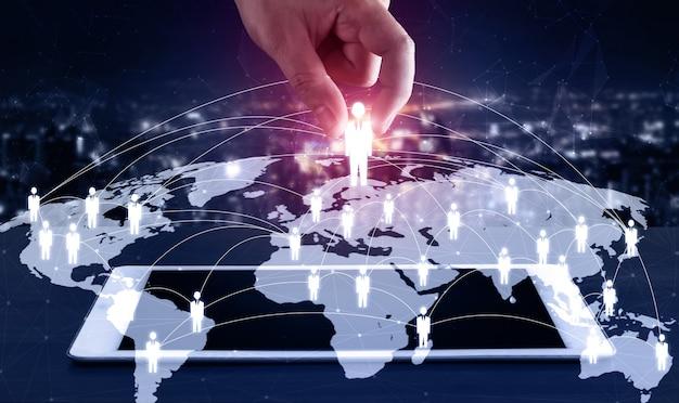 Concepto de crm de gestión de redes de personas, recursos humanos y relaciones con los clientes