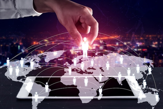Concepto de crm de red de personas, recursos humanos y gestión de relaciones con los clientes