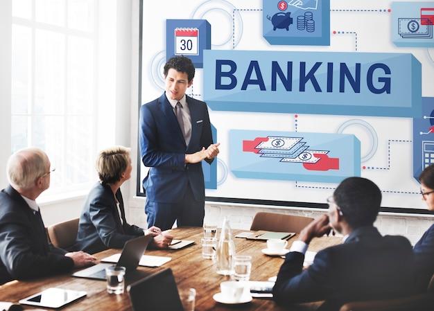 Concepto de cuenta de gestión de dinero de ahorro bancario