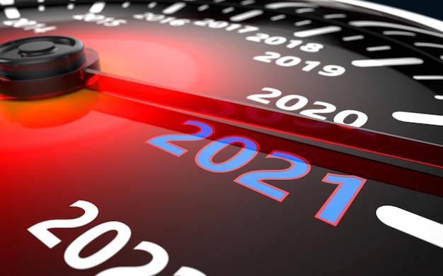 Concepto de cuenta regresiva del velocímetro del coche de 2021 años