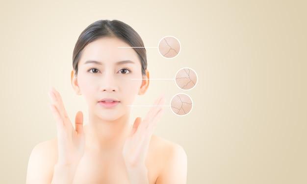Concepto de cuidado de la piel y la salud - cara hermosa mujer joven con brillantes círculos para publicidad