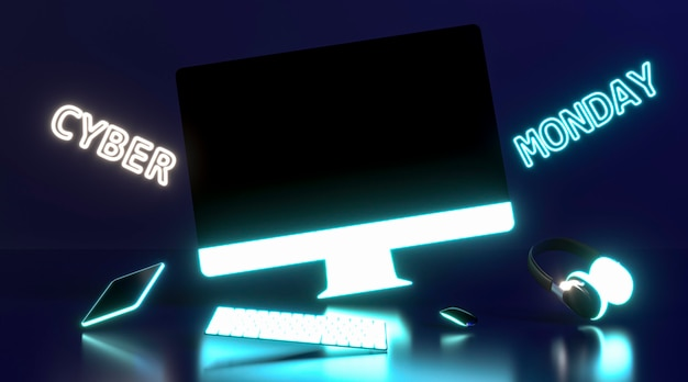 Concepto de cyber monday con monitor