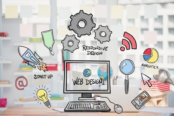 Concepto de diseño web con dibujos
