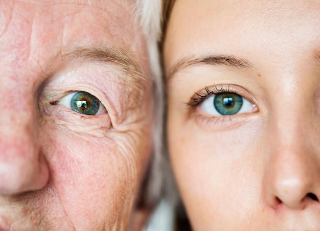 Concepto de genética de ojos verdes de generación familiar