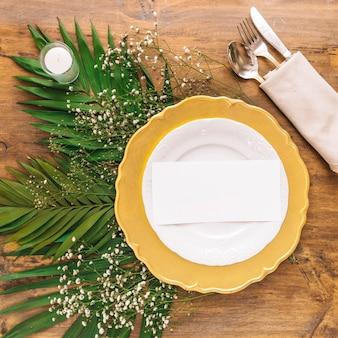 Concepto de vista superior de menú de boda