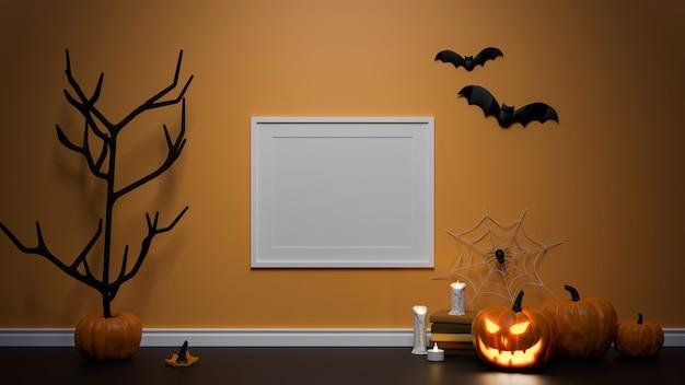 Concepto de decoración de halloween con lámpara de calabaza de marco de maqueta y árbol seco decorado en la sala de representación 3d