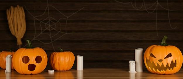 Concepto de decoración de halloween con lámparas de calabaza y velas en la mesa de madera 3d rendering ilustración 3d