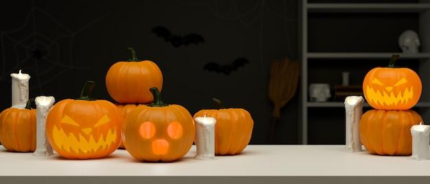 Concepto de decoración de halloween con lámparas de calabaza y velas en la mesa de representación 3d