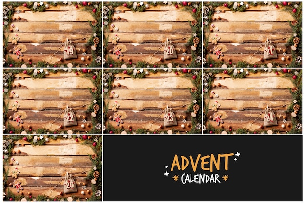 Concepto decorativo para calendario de adviento