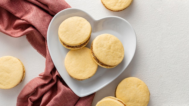 Concepto de deliciosas galletas alfajores