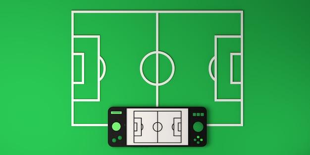 Concepto de deportes electrónicos en línea. gamepad con campo de fútbol. jugador. juego de azar. bandera. ilustración 3d.