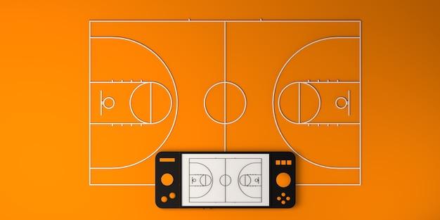 Concepto de deportes electrónicos en línea. gamepad con cancha de baloncesto. jugador. juego de azar. bandera. ilustración 3d.