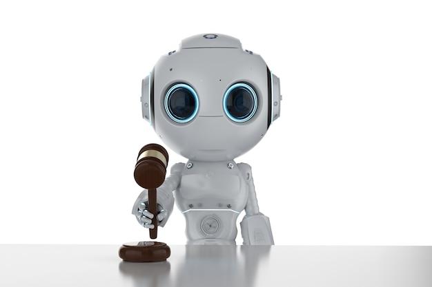 Concepto de derecho de internet con representación 3d lindo robot mantenga juez de mazo