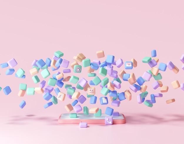 Concepto de desarrollo de aplicaciones móviles 3d. aplicaciones flotantes al teléfono, codificación de aplicaciones, diseño de interfaz de usuario. representación 3d.