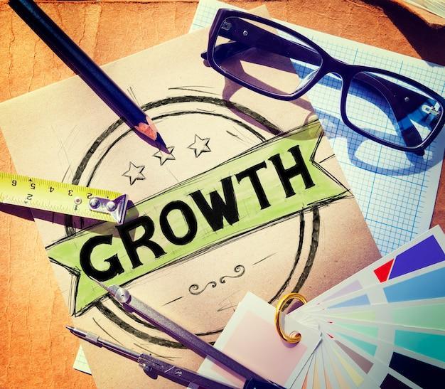 Concepto de desarrollo de estrategia de planificación del crecimiento empresarial