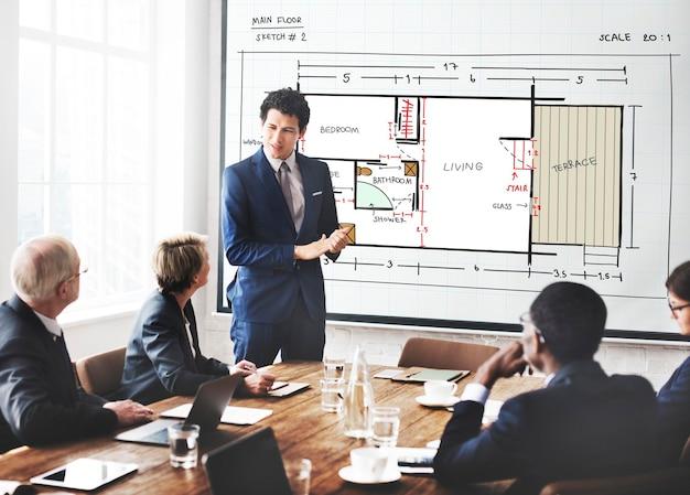 Concepto de desarrollo de estructura de diseño de interiores de arquitectura de planos