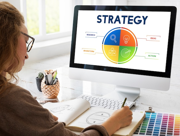 Concepto de desarrollo de plan de negocios de estrategia