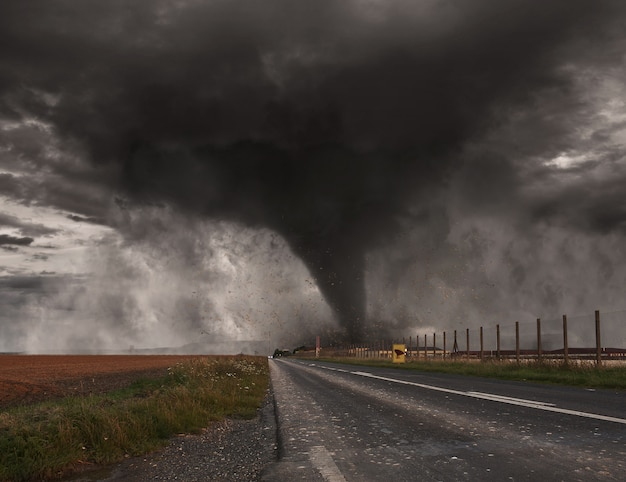 Concepto de desastre de tornado