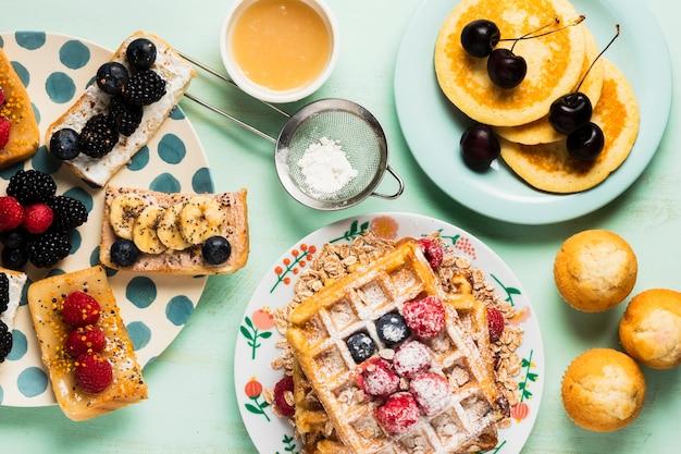 Concepto de desayuno fresco de primer plano